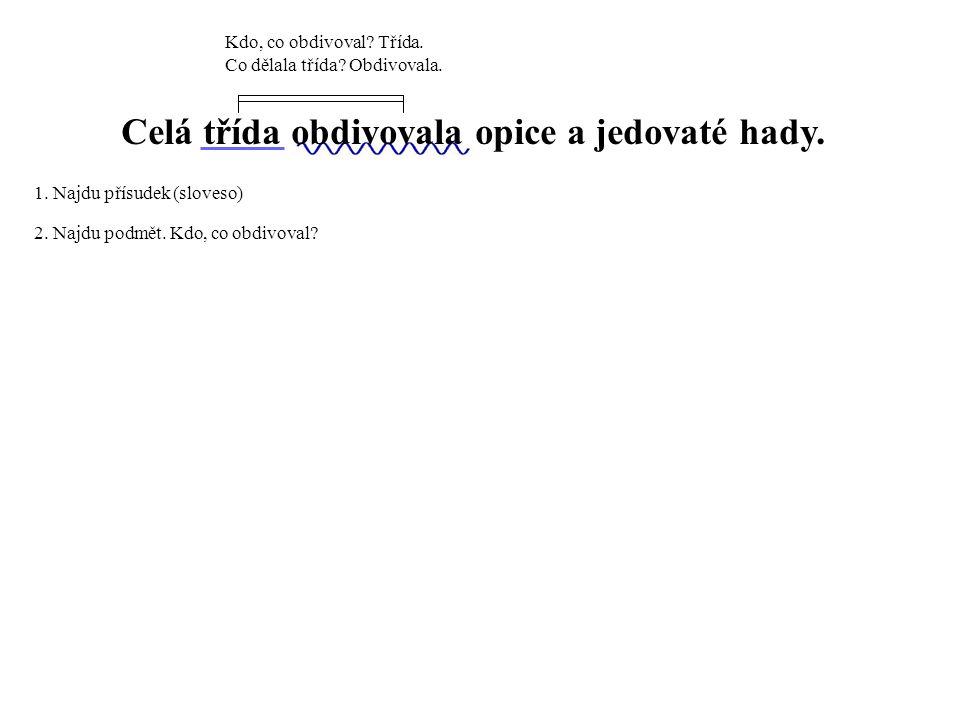 Lucka uviděla poprvé v životě klokany.1. Najdu přísudek (sloveso) 2.