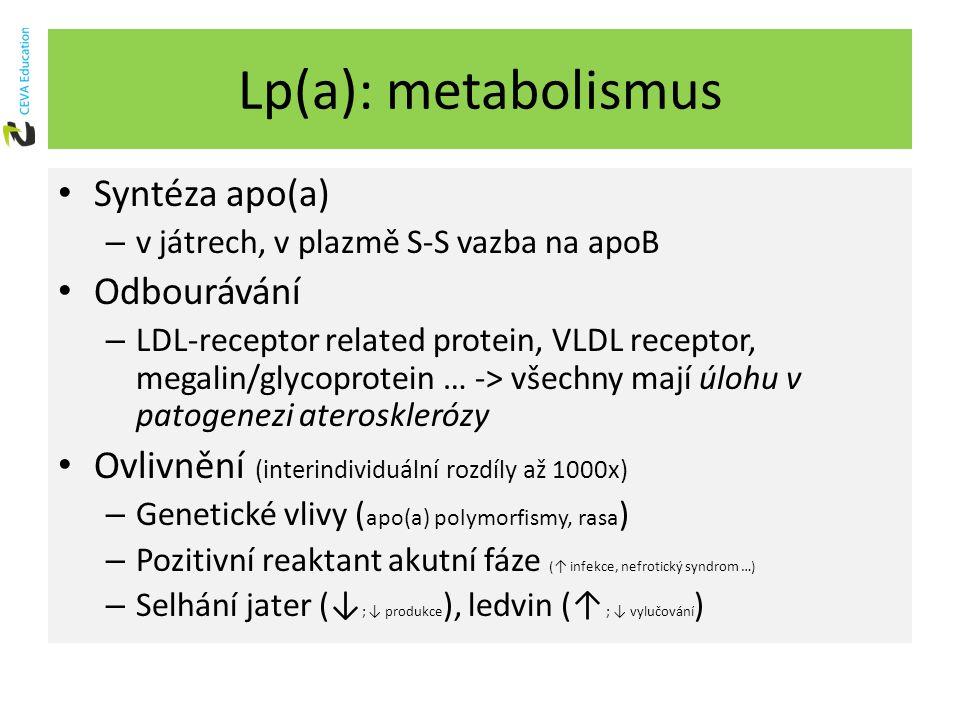 Lp(a): metabolismus Syntéza apo(a) – v játrech, v plazmě S-S vazba na apoB Odbourávání – LDL-receptor related protein, VLDL receptor, megalin/glycoprotein … -> všechny mají úlohu v patogenezi aterosklerózy Ovlivnění (interindividuální rozdíly až 1000x) – Genetické vlivy ( apo(a) polymorfismy, rasa ) – Pozitivní reaktant akutní fáze (↑ infekce, nefrotický syndrom …) – Selhání jater (↓ ; ↓ produkce ), ledvin (↑ ; ↓ vylučování )
