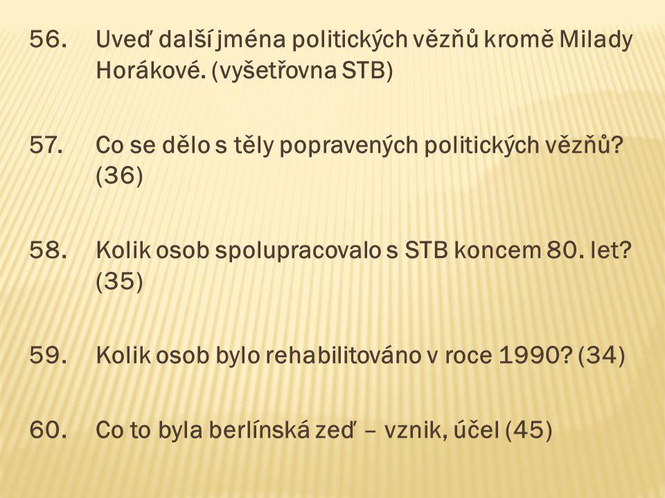 56.Uveď další jména politických vězňů kromě Milady Horákové. (vyšetřovna STB) 57.Co se dělo s těly popravených politických vězňů? (36) 58.Kolik osob s