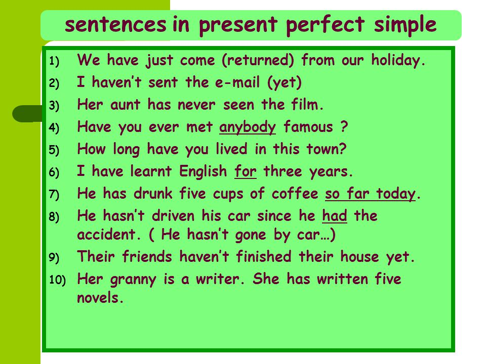 sentences in present perfect simple 1) We have just come (returned) from our holiday. 2) I haven't sent the e-mail (yet) 3) Her aunt has never seen th