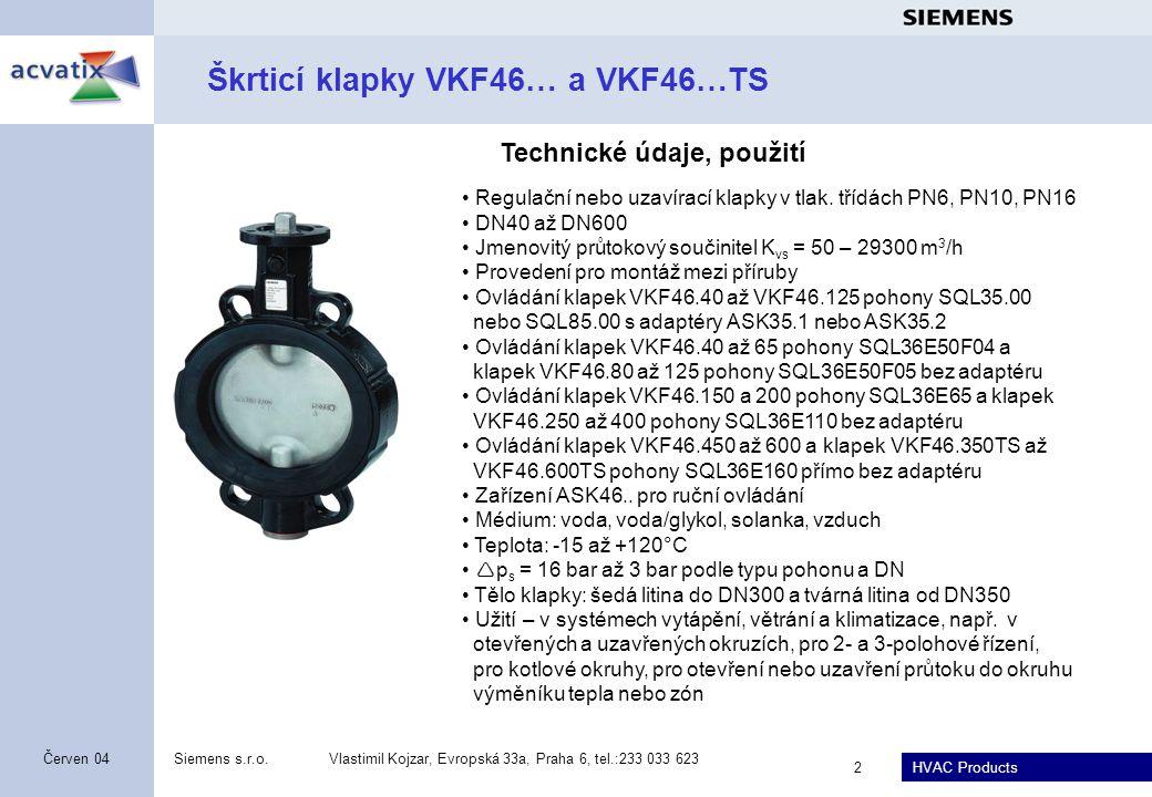 HVAC Products Siemens s.r.o.Vlastimil Kojzar, Evropská 33a, Praha 6, tel.:233 033 623 2 Červen 04 Škrticí klapky VKF46… a VKF46…TS Regulační nebo uzav