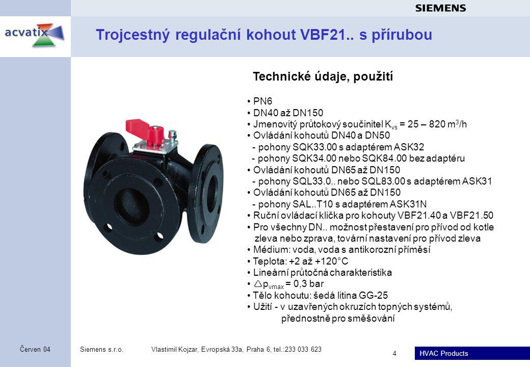 HVAC Products Siemens s.r.o.Vlastimil Kojzar, Evropská 33a, Praha 6, tel.:233 033 623 4 Červen 04 Trojcestný regulační kohout VBF21.. s přírubou PN6 D
