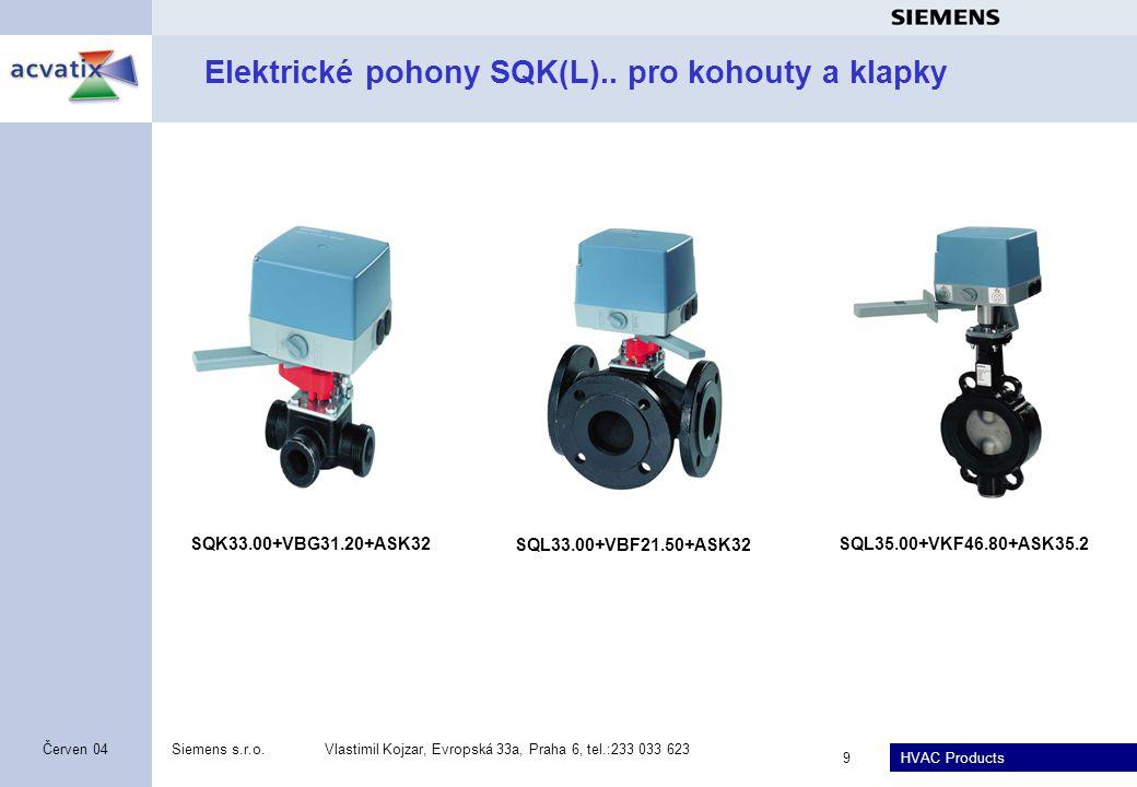 HVAC Products Siemens s.r.o.Vlastimil Kojzar, Evropská 33a, Praha 6, tel.:233 033 623 9 Červen 04 Elektrické pohony SQK(L).. pro kohouty a klapky SQK3