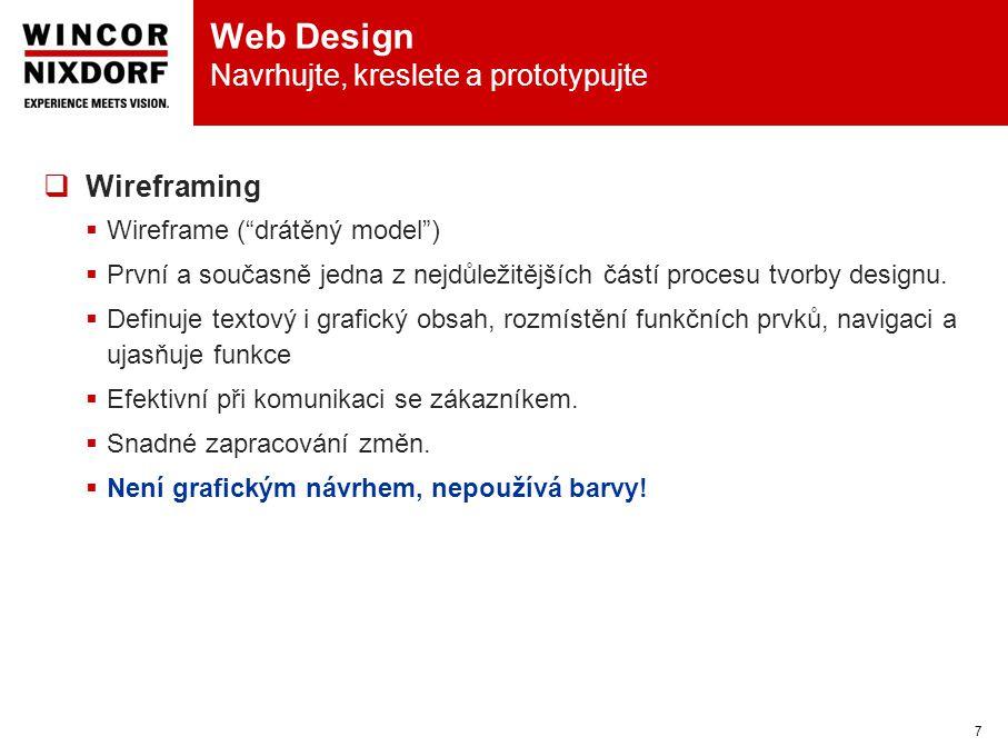 Web Design Navrhujte, kreslete a prototypujte 7  Wireframing  Wireframe ( drátěný model )  První a současně jedna z nejdůležitějších částí procesu tvorby designu.