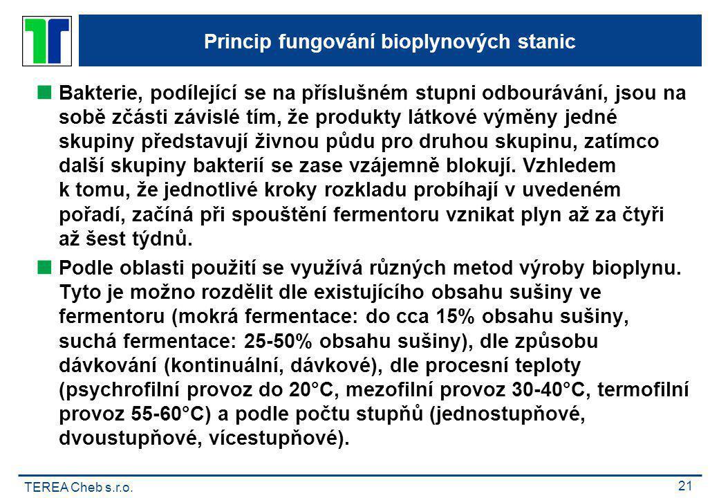 TEREA Cheb s.r.o. 21 Princip fungování bioplynových stanic  Bakterie, podílející se na příslušném stupni odbourávání, jsou na sobě zčásti závislé tím