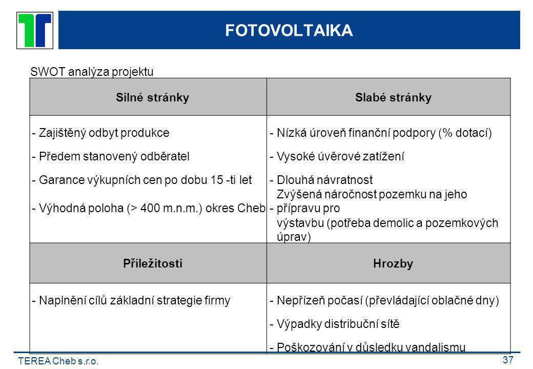 TEREA Cheb s.r.o. 37 FOTOVOLTAIKA SWOT analýza projektu Silné stránky Slabé stránky -Zajištěný odbyt produkce-Nízká úroveň finanční podpory (% dotací)