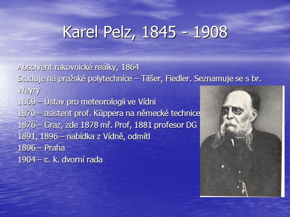 Karel Pelz, 1845 - 1908 Absolvent rakovnické reálky, 1864 Studuje na pražské polytechnice – Tilšer, Fiedler. Seznamuje se s br. Weyry 1869 – Ústav pro