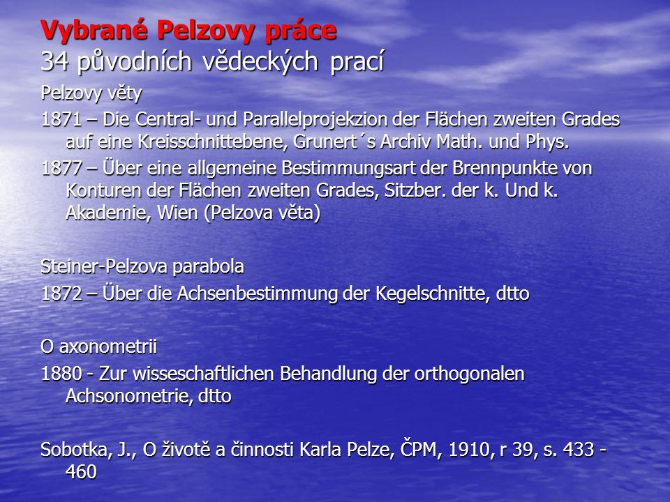 Vybrané Pelzovy práce 34 původních vědeckých prací Pelzovy věty 1871 – Die Central- und Parallelprojekzion der Flächen zweiten Grades auf eine Kreissc