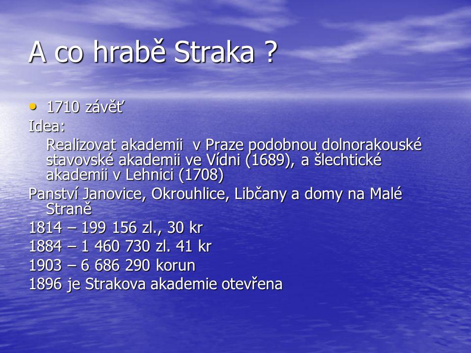 A co hrabě Straka ? 1710 závěť 1710 závěťIdea: Realizovat akademii v Praze podobnou dolnorakouské stavovské akademii ve Vídni (1689), a šlechtické aka
