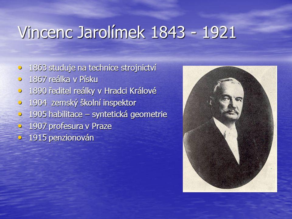 Vincenc Jarolímek 1843 - 1921 1863 studuje na technice strojnictví 1863 studuje na technice strojnictví 1867 reálka v Písku 1867 reálka v Písku 1890 ř