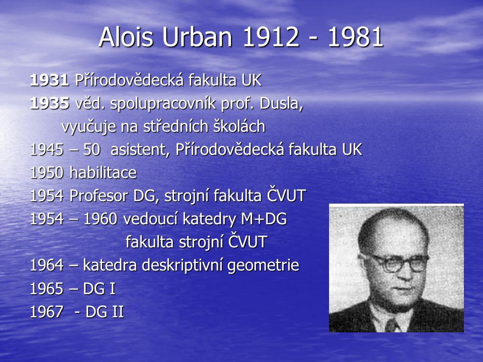 Alois Urban 1912 - 1981 1931 Přírodovědecká fakulta UK 1935 věd. spolupracovník prof. Dusla, vyučuje na středních školách 1945 – 50 asistent, Přírodov