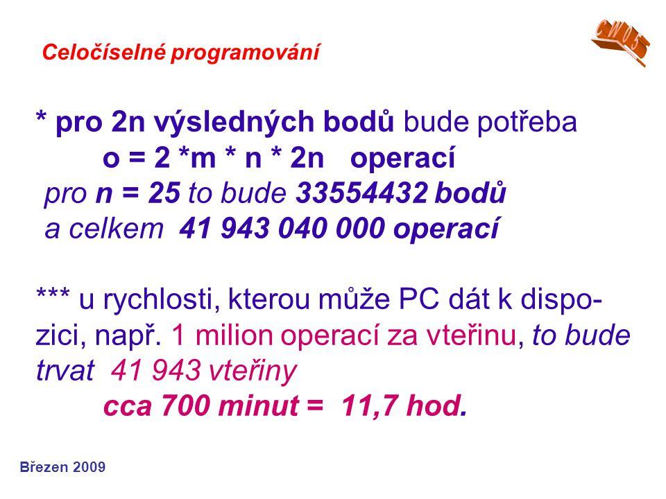 * pro 2n výsledných bodů bude potřeba o = 2 *m * n * 2n operací pro n = 25 to bude 33554432 bodů a celkem 41 943 040 000 operací *** u rychlosti, kter