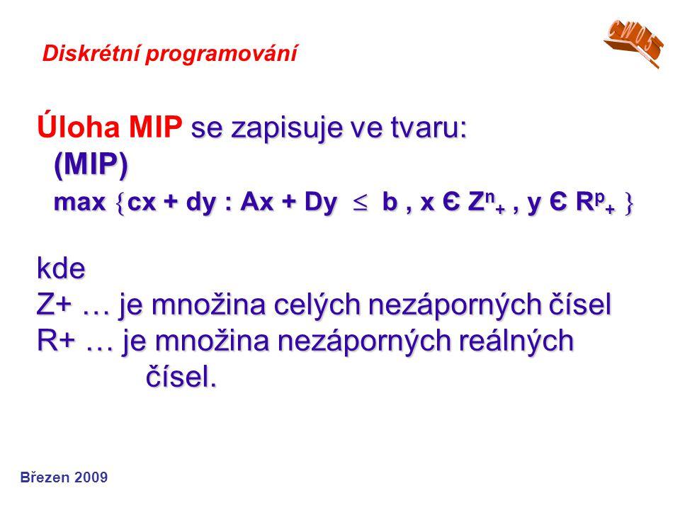 se zapisuje ve tvaru: (MIP) max  cx + dy : Ax + Dy  b, x Є Z n +, y Є R p +  kde Z+ … je množina celých nezáporných čísel R+ … je množina nezáporný