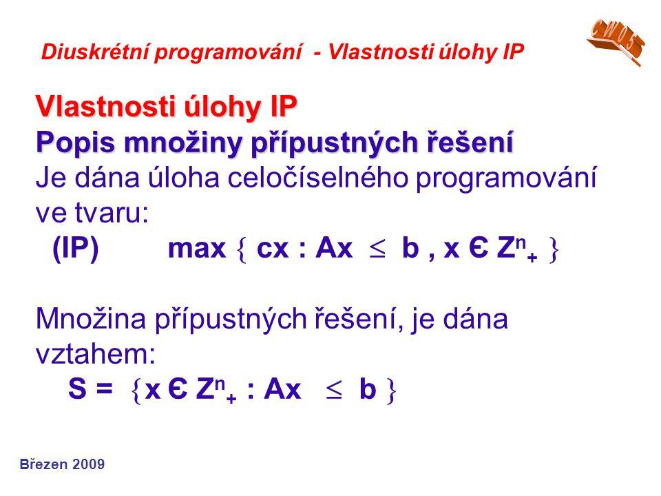 Vlastnosti úlohy IP Popis množiny přípustných řešení Vlastnosti úlohy IP Popis množiny přípustných řešení Je dána úloha celočíselného programování ve