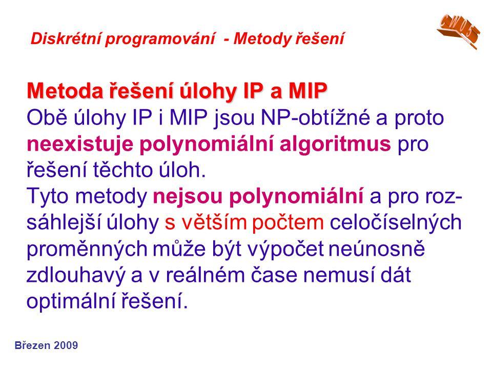 Metoda řešení úlohy IP a MIP Metoda řešení úlohy IP a MIP Obě úlohy IP i MIP jsou NP-obtížné a proto neexistuje polynomiální algoritmus pro řešení těc