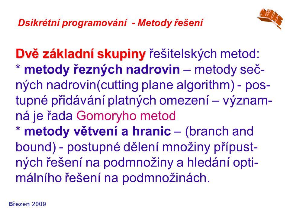 Dvě základní skupiny Dvě základní skupiny řešitelských metod: * metody řezných nadrovin – metody seč- ných nadrovin(cutting plane algorithm) - pos- tu