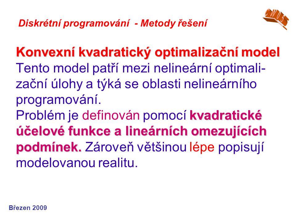 Konvexní kvadratický optimalizační model kvadratické účelové funkce a lineárních omezujících podmínek. Konvexní kvadratický optimalizační model Tento