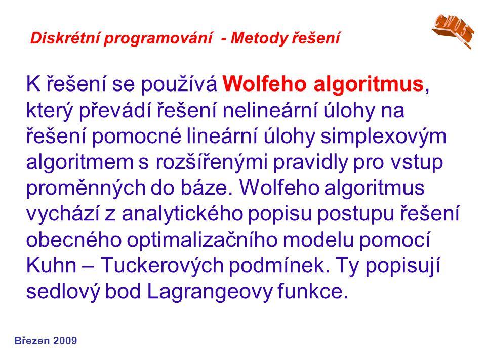 K řešení se používá Wolfeho algoritmus, který převádí řešení nelineární úlohy na řešení pomocné lineární úlohy simplexovým algoritmem s rozšířenými pr