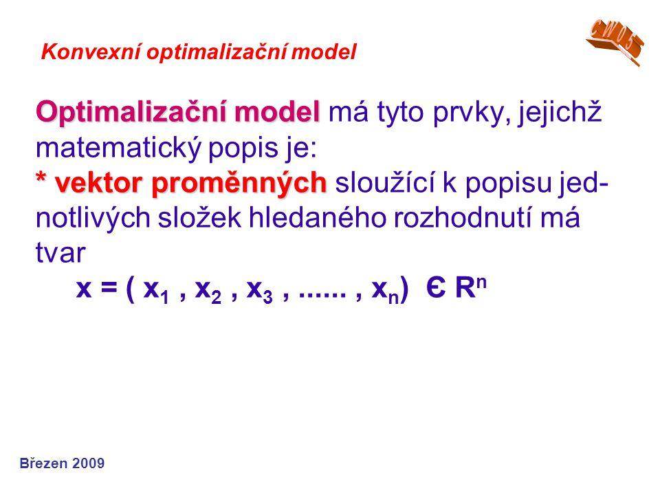 Optimalizační model * vektor proměnných Optimalizační model má tyto prvky, jejichž matematický popis je: * vektor proměnných sloužící k popisu jed- no