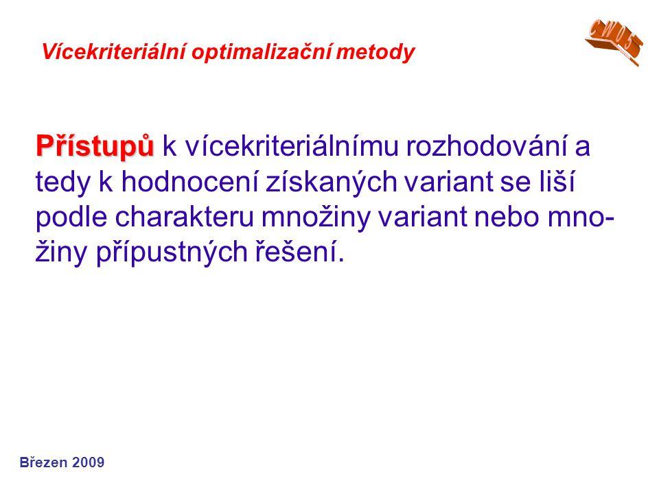 Přístupů Přístupů k vícekriteriálnímu rozhodování a tedy k hodnocení získaných variant se liší podle charakteru množiny variant nebo mno- žiny přípust