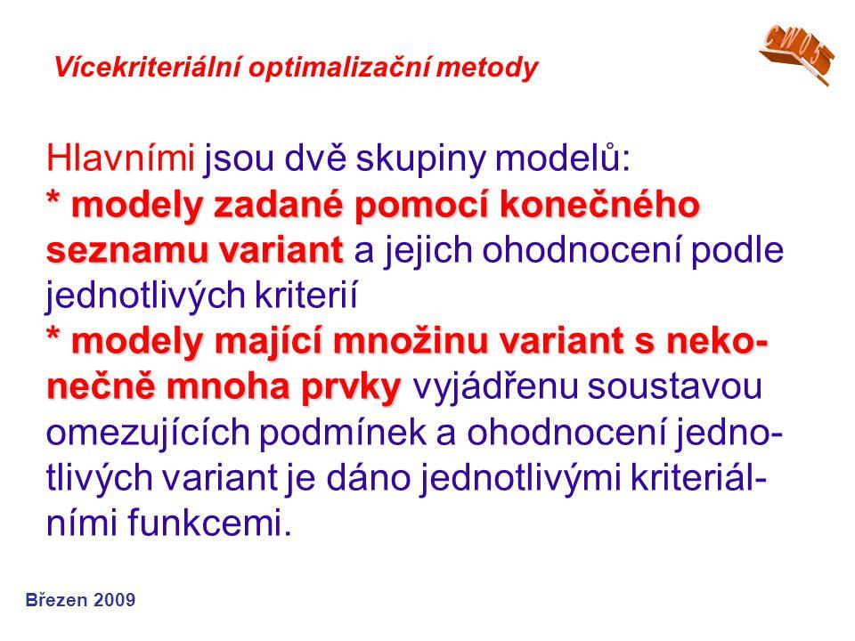 * modely zadané pomocí konečného seznamu variant * modely mající množinu variant s neko- nečně mnoha prvky Hlavními jsou dvě skupiny modelů: * modely