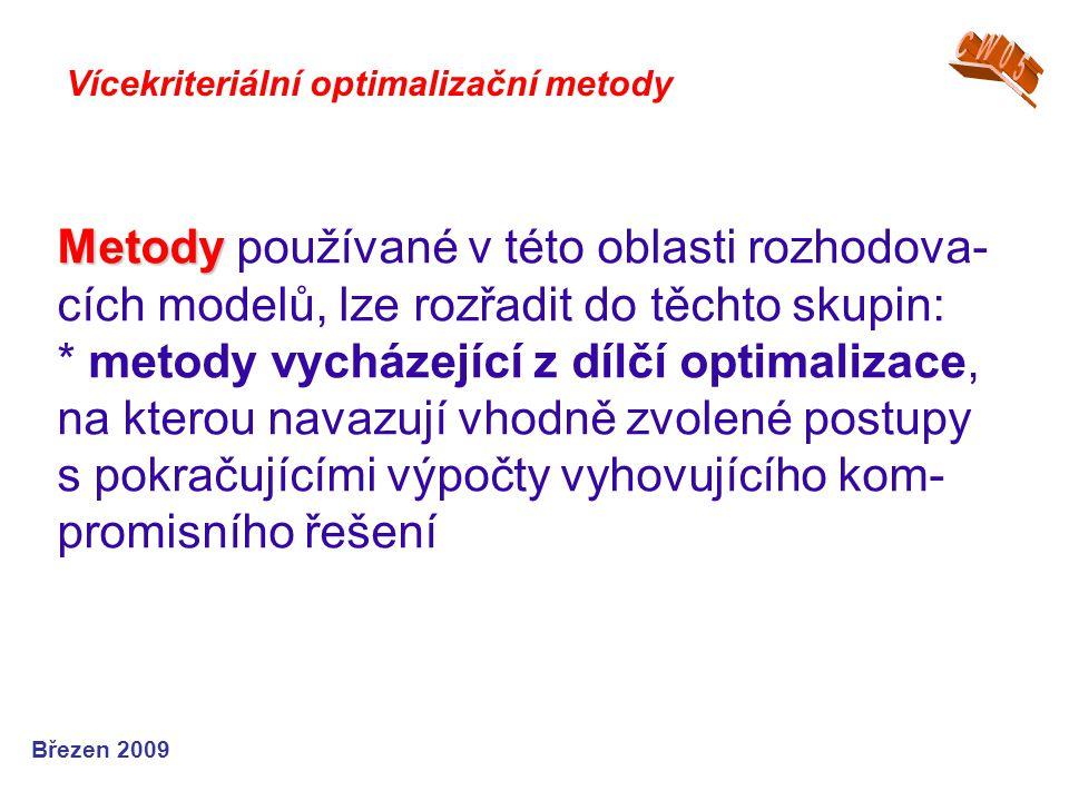 Metody Metody používané v této oblasti rozhodova- cích modelů, lze rozřadit do těchto skupin: * metody vycházející z dílčí optimalizace, na kterou nav
