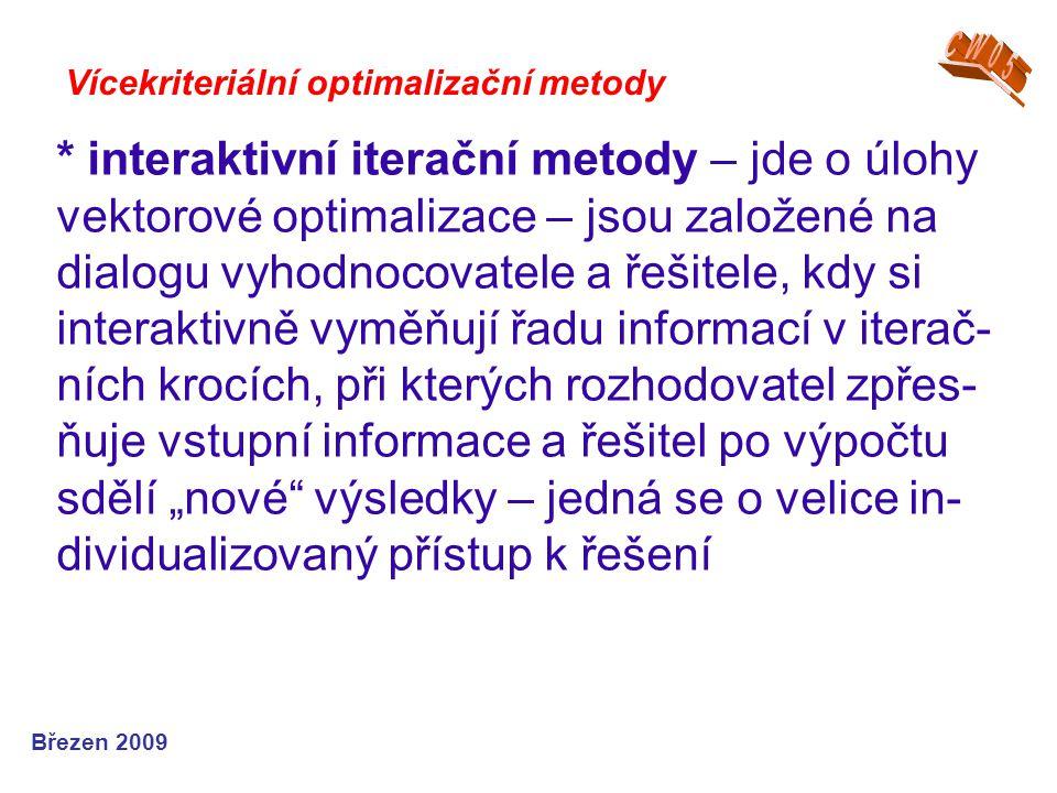 * interaktivní iterační metody – jde o úlohy vektorové optimalizace – jsou založené na dialogu vyhodnocovatele a řešitele, kdy si interaktivně vyměňuj