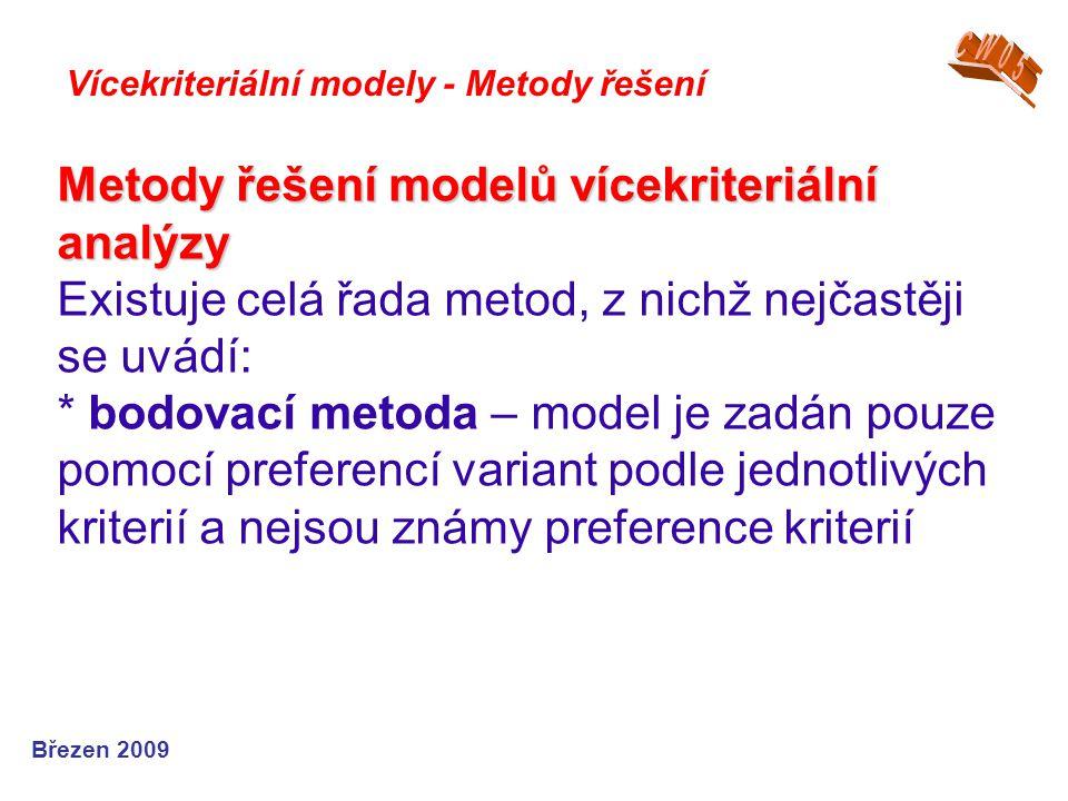 Metody řešení modelů vícekriteriální analýzy Metody řešení modelů vícekriteriální analýzy Existuje celá řada metod, z nichž nejčastěji se uvádí: * bod