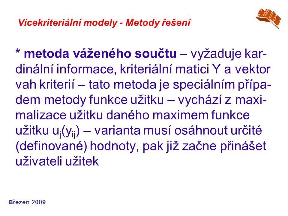 * metoda váženého součtu – vyžaduje kar- dinální informace, kriteriální matici Y a vektor vah kriterií – tato metoda je speciálním přípa- dem metody f
