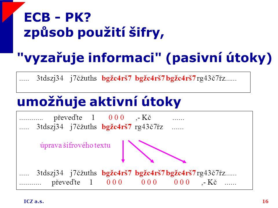ICZ a.s.16 ECB - PK. způsob použití šifry,............