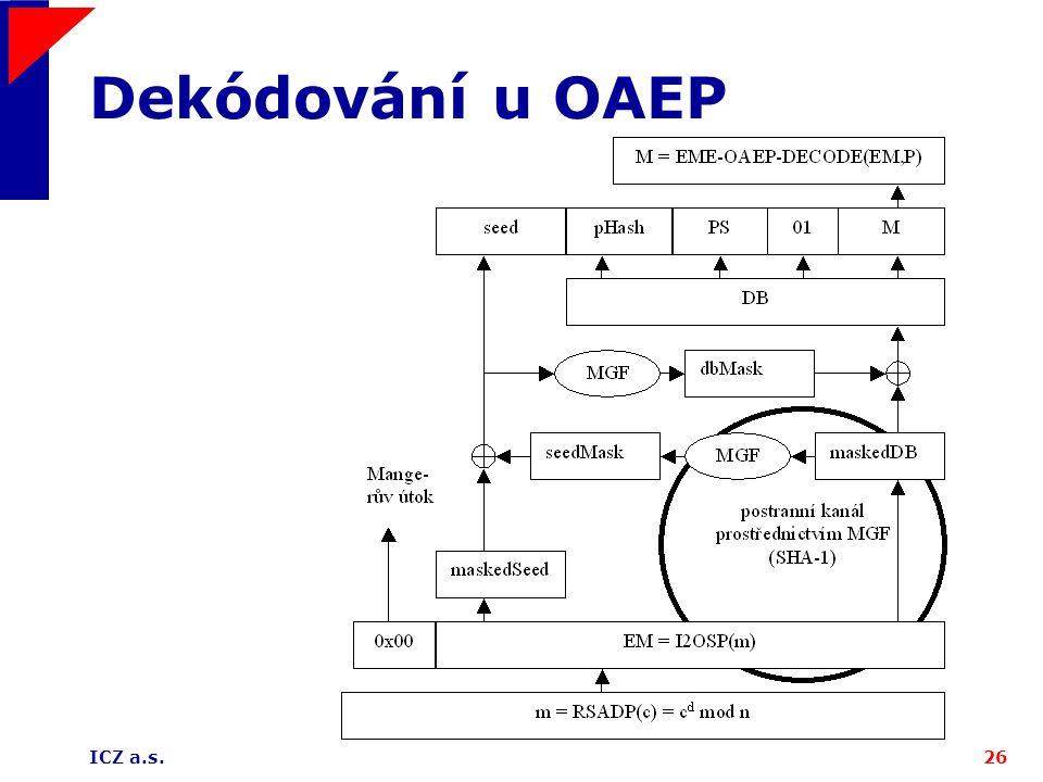 ICZ a.s.26 Dekódování u OAEP