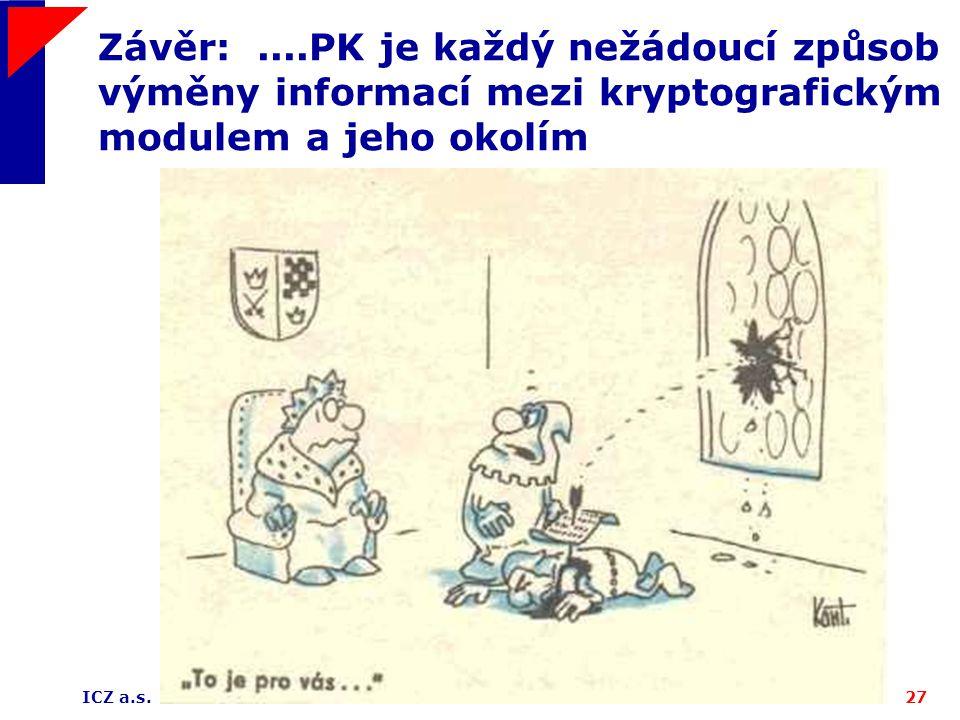 ICZ a.s.27 Závěr:....PK je každý nežádoucí způsob výměny informací mezi kryptografickým modulem a jeho okolím