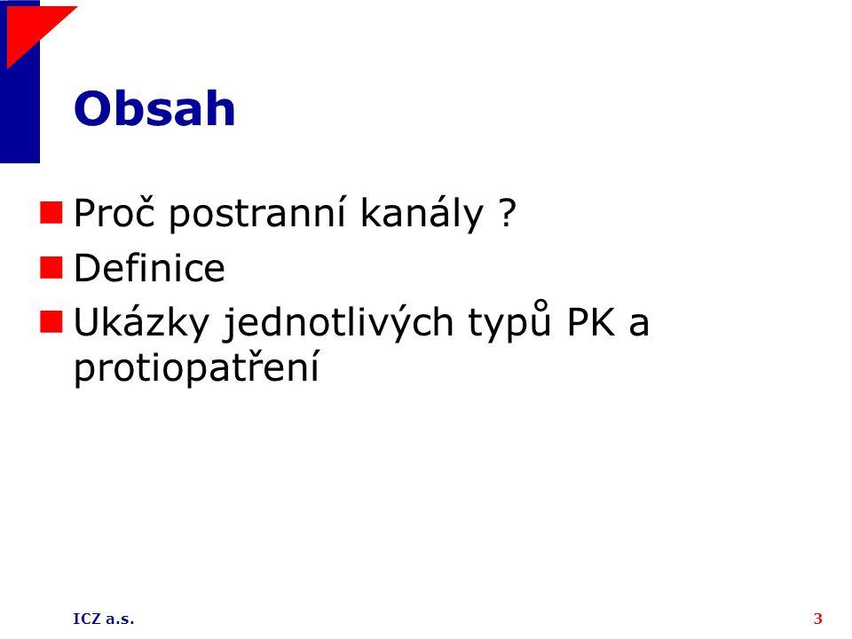 ICZ a.s.3 Obsah Proč postranní kanály Definice Ukázky jednotlivých typů PK a protiopatření