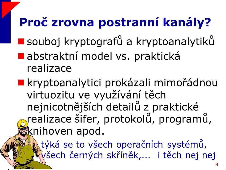 ICZ a.s.4 Proč zrovna postranní kanály. souboj kryptografů a kryptoanalytiků abstraktní model vs.