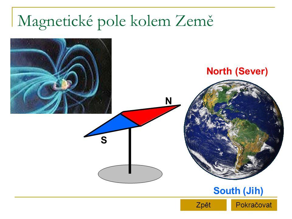 Magnetické pole tyčového magnetu PokračovatZpět N S Magnetky na podložce se natočí tak, že svými jižními póly směřují k severnímu pólu tyčového magnetu.