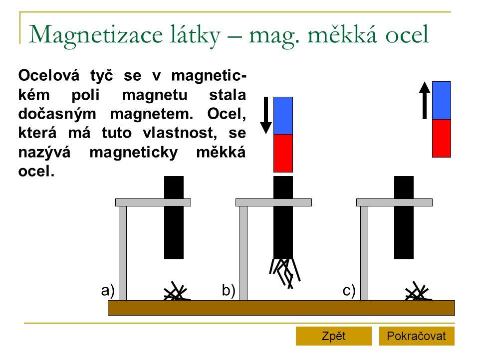 Magnetizace látky – mag. měkká ocel PokračovatZpět a)b)c) Ocelová tyč se v magnetic- kém poli magnetu stala dočasným magnetem. Ocel, která má tuto vla