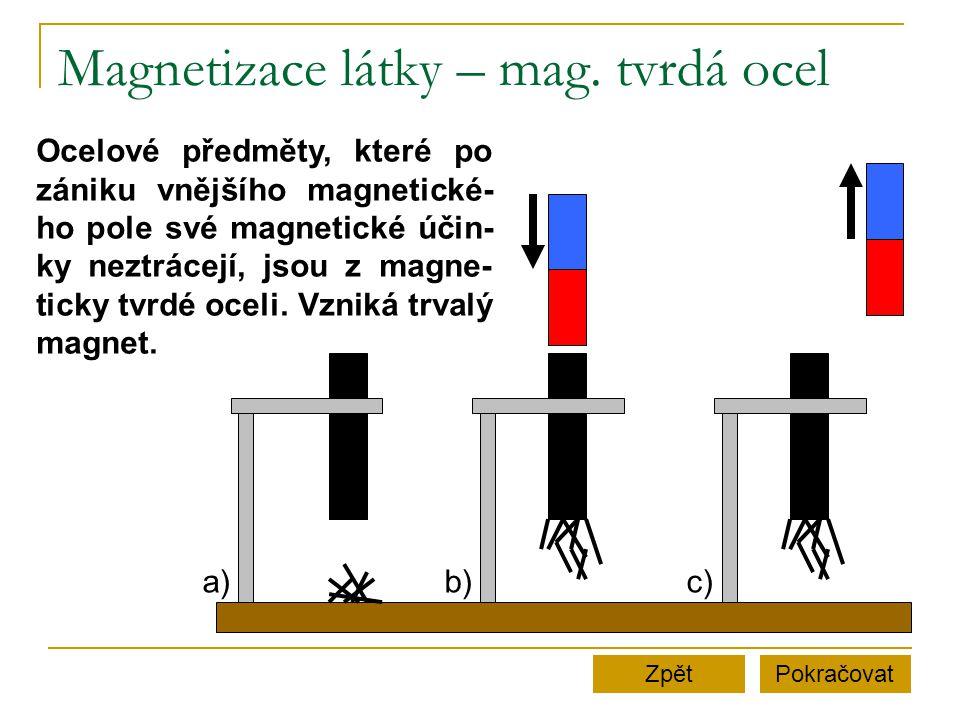 Magnetizace látky – mag. tvrdá ocel PokračovatZpět Ocelové předměty, které po zániku vnějšího magnetické- ho pole své magnetické účin- ky neztrácejí,