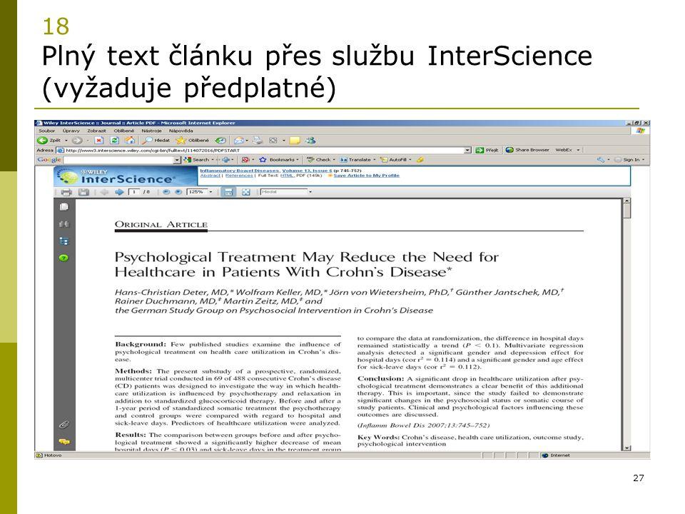 27 18 Plný text článku přes službu InterScience (vyžaduje předplatné)