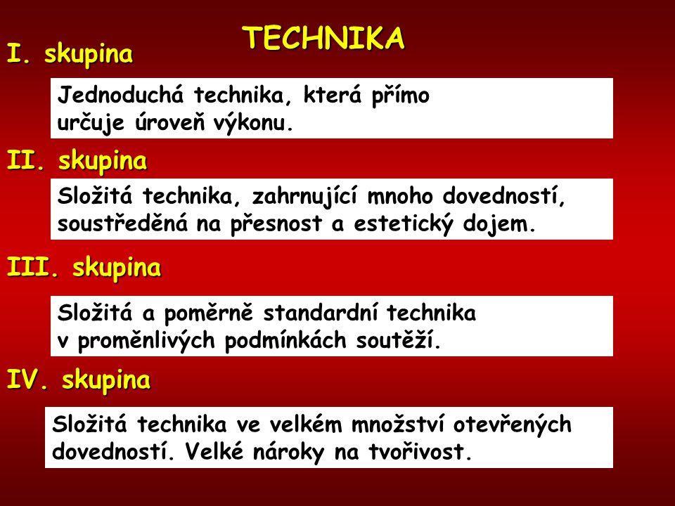 TECHNIKA I. skupina Jednoduchá technika, která přímo určuje úroveň výkonu. II. skupina Složitá technika, zahrnující mnoho dovedností, soustředěná na p