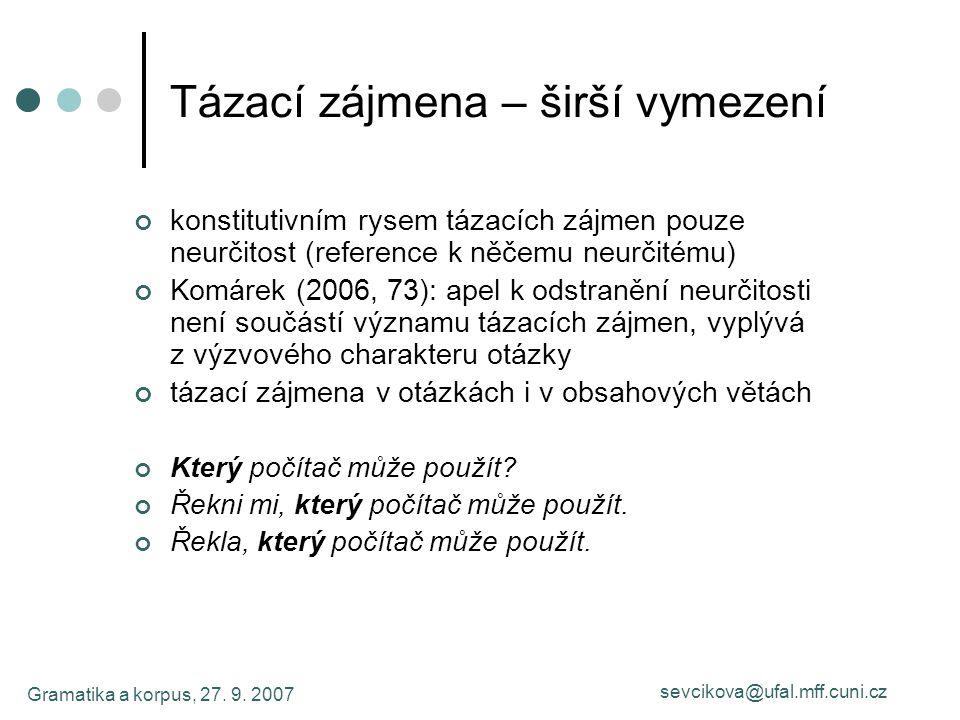 Gramatika a korpus, 27. 9. 2007 sevcikova@ufal.mff.cuni.cz Tázací zájmena – širší vymezení konstitutivním rysem tázacích zájmen pouze neurčitost (refe