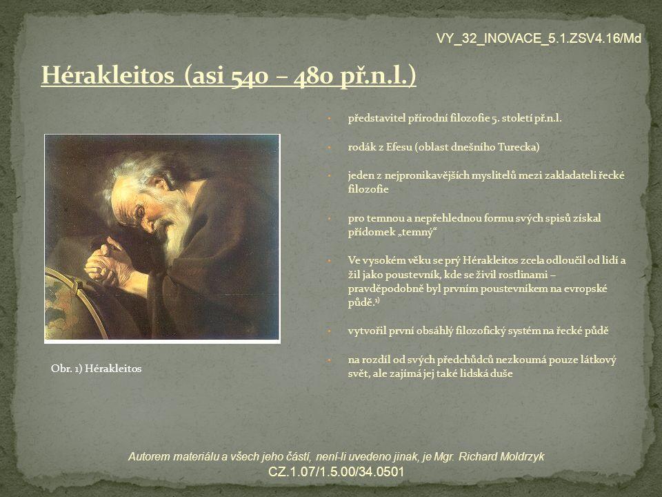 představitel přírodní filozofie 5.století př.n.l.