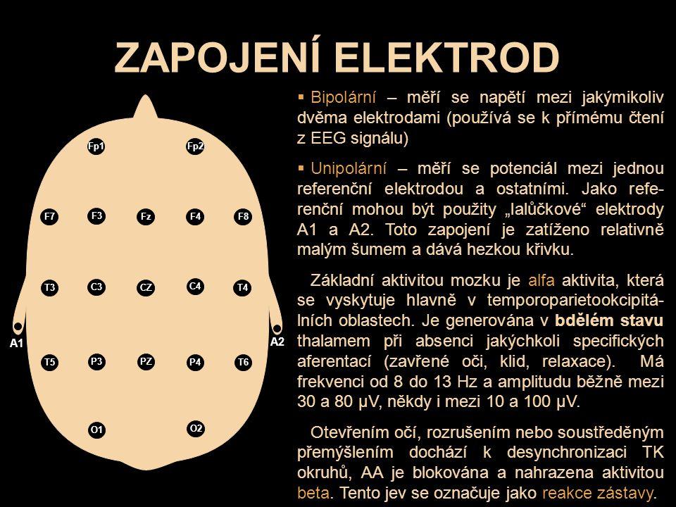 ZAPOJENÍ ELEKTROD Fp1 Fp2 F7 F3 Fz F4F8 T4 C4 CZ C3 T3 T5 P3 PZ P4T6 O2 O1 A2 A1  Bipolární – měří se napětí mezi jakýmikoliv dvěma elektrodami (použ