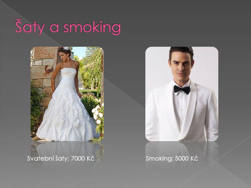 Svatební šaty: 7000 KčSmoking: 5000 Kč