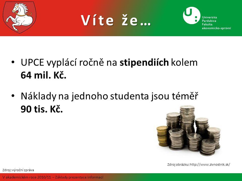 Víte že… V akademickém roce 2010/11 – Základy prezentace informací UPCE vyplácí ročně na stipendiích kolem 64 mil. Kč. Náklady na jednoho studenta jso