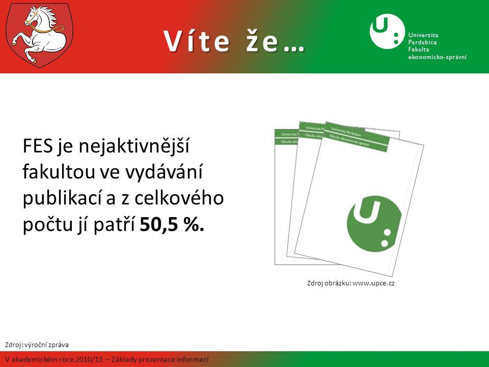 Víte že… V akademickém roce 2010/11 – Základy prezentace informací FES je nejaktivnější fakultou ve vydávání publikací a z celkového počtu jí patří 50,5 %.