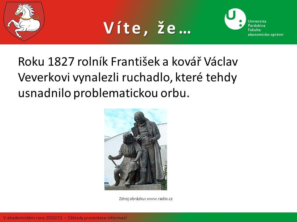 Víte, že… Roku 1827 rolník František a kovář Václav Veverkovi vynalezli ruchadlo, které tehdy usnadnilo problematickou orbu. V akademickém roce 2010/1