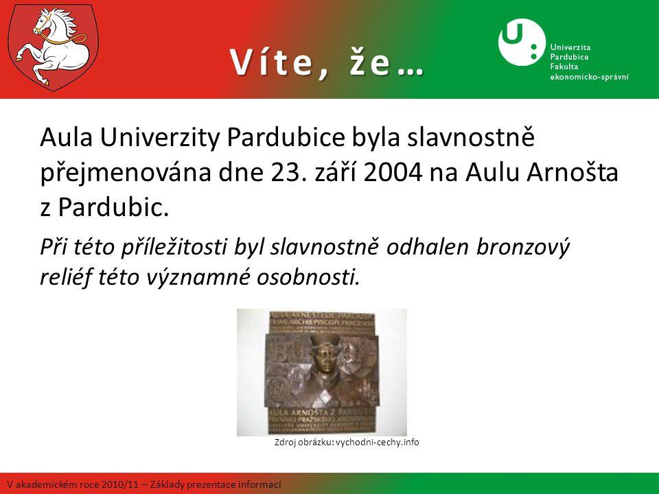 Aula Univerzity Pardubice byla slavnostně přejmenována dne 23. září 2004 na Aulu Arnošta z Pardubic. Při této příležitosti byl slavnostně odhalen bron