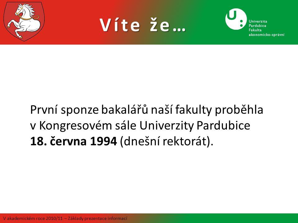 Víte že… V akademickém roce 2010/11 – Základy prezentace informací První sponze bakalářů naší fakulty proběhla v Kongresovém sále Univerzity Pardubice