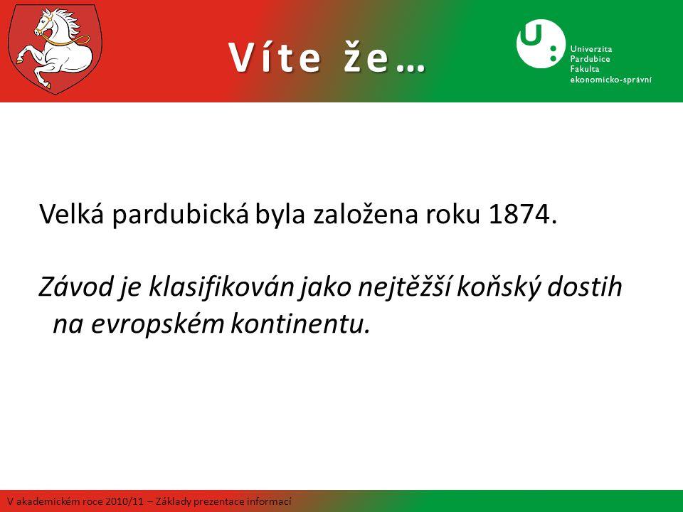 Víte že… V akademickém roce 2010/11 – Základy prezentace informací Zlatá přilba se jela poprvé v roce 1929.