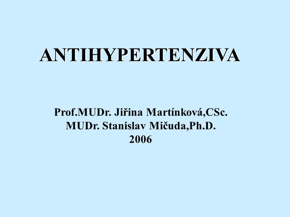 ANTIHYPERTENZIVA Prof.MUDr. Jiřina Martínková,CSc. MUDr. Stanislav Mičuda,Ph.D. 2006